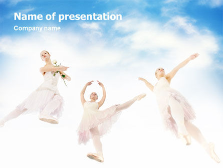 Art & Entertainment: Flying Ballerinas PowerPoint Template #01646