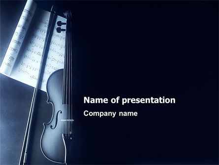 Art & Entertainment: Violin In Dark Blue PowerPoint Template #01665