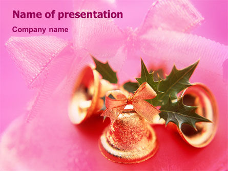 Holiday/Special Occasion: Christmas Bells On A Pink Background PowerPoint Template #01679