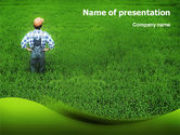 Agriculture: Farmer On The Green Field PowerPoint Template #01698