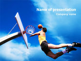 Sports: Flying Basketballer PowerPoint Template #01713
