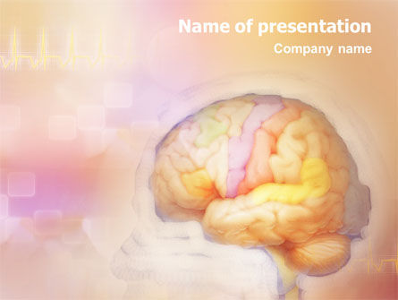 Medical: Brain In Pink Colors PowerPoint Template #01721