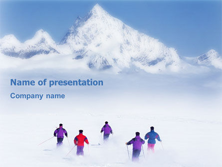 Sports: Skiing in Alps PowerPoint Template #01726