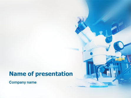 Electronic Microscope In Blue Colors PowerPoint Template, 01729, Technology and Science — PoweredTemplate.com