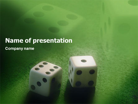 Art & Entertainment: Dice On A Green Cloth PowerPoint Template #01735
