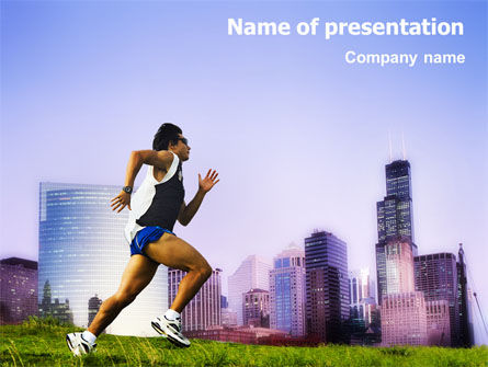 Sports: City Jogging PowerPoint Template #01740