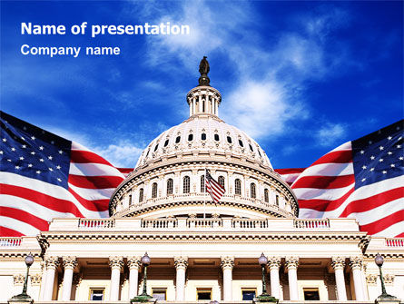 Flags/International: United States Capitol Building PowerPoint Template #01766