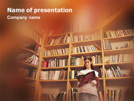 Girl On The Library Background PowerPoint Template