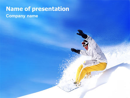 Sports: Snowboarding In Deep Snow PowerPoint Template #01771