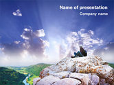 Nature & Environment: Hiking On The Top Of The Mountain PowerPoint Template #01779