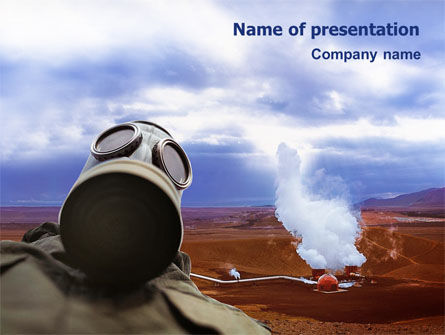 Utilities/Industrial: Gas-Mask on Chemical Landfill PowerPoint Template #01787