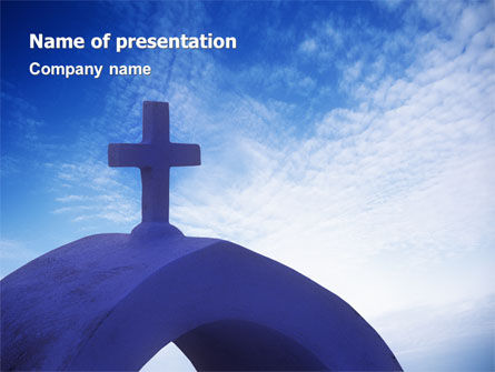 Religious/Spiritual: Blue Cross PowerPoint Template #01804