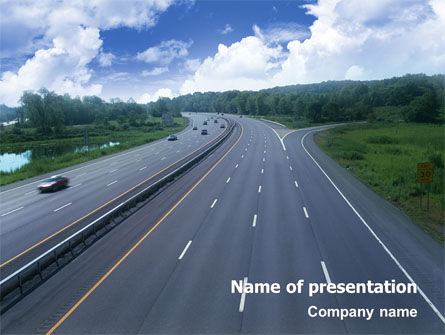 Cars and Transportation: Highway In Twilight PowerPoint Template #01811