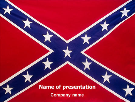The Battle Flag of the Confederacy PowerPoint Template, 01814, Flags/International — PoweredTemplate.com