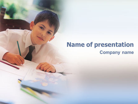 Schoolboy PowerPoint Template, 01822, Education & Training — PoweredTemplate.com