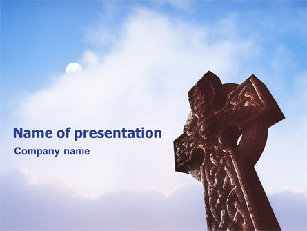 Religious/Spiritual: Celtic Cross PowerPoint Template #01825