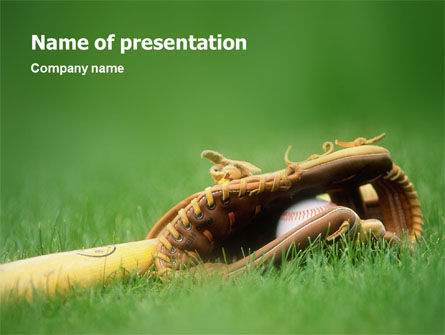 Sports: Baseball Glove and Bat PowerPoint Template #01833