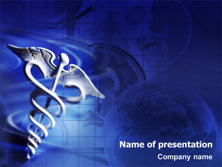 Medical: Caduceus In Deep Blue Colors PowerPoint Template #01881