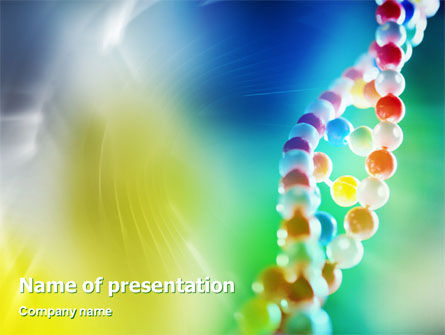 Medical: DNA On A Green Yellow Blue PowerPoint Template #01884