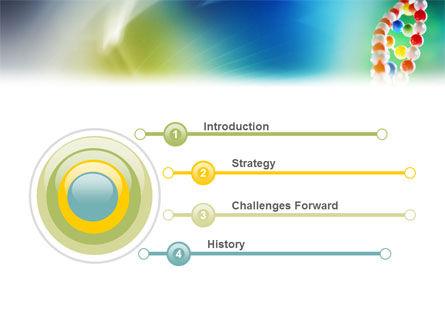DNA On A Green Yellow Blue PowerPoint Template, Slide 3, 01884, Medical — PoweredTemplate.com