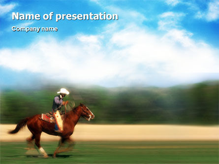 Cowboy Riding PowerPoint Template, 01911, Sports — PoweredTemplate.com