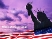 America: Statue of Liberty With American Flag PowerPoint Template #01914