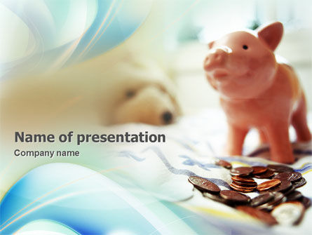 Piggy Bank And Coins PowerPoint Template, 01932, Financial/Accounting — PoweredTemplate.com