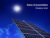 Technology and Science: Solar Panels Rising Up Power PowerPoint Template #01936