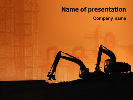 Utilities/Industrial: Silhouettes Of Excavators PowerPoint Template #01940