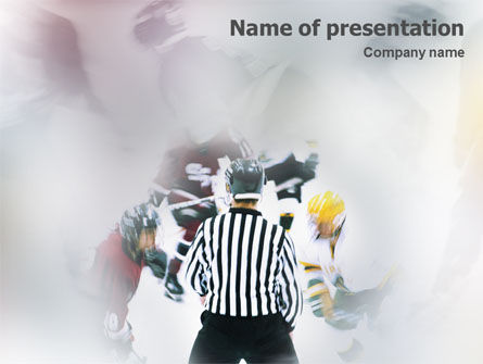Sports: Ice Hockey Referee PowerPoint Template #01973