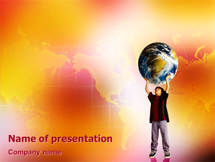 Earth In Young Pupil Hands PowerPoint Template