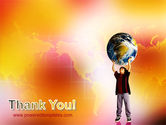 Earth In Young Pupil Hands PowerPoint Template#20