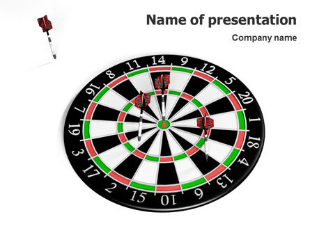 3D: Darts And Target PowerPoint Template #02007
