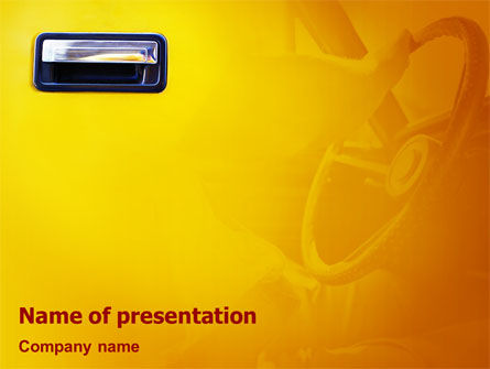 Steering Wheel In Reflection Of Car Doors PowerPoint Template, 02011, Careers/Industry — PoweredTemplate.com