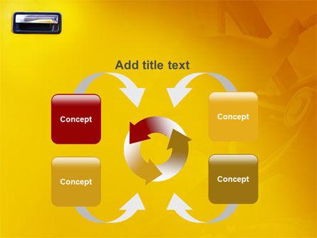 Steering Wheel In Reflection Of Car Doors PowerPoint Template Slide 6