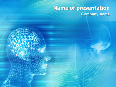 Technology and Science: 3D Head Model PowerPoint Template #02013