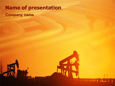 Oil Well PowerPoint Template, 02018, Utilities/Industrial — PoweredTemplate.com