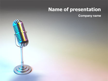 3D: Microphone PowerPoint Template #02027