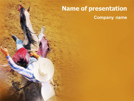 Rodeo On A Wild Mustang PowerPoint Template, 02044, Sports — PoweredTemplate.com