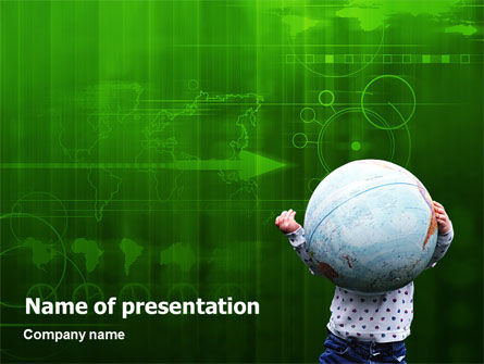 Kid and World PowerPoint Template, 02045, Global — PoweredTemplate.com