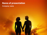 People: Couple Walking To Sunset PowerPoint Template #02058