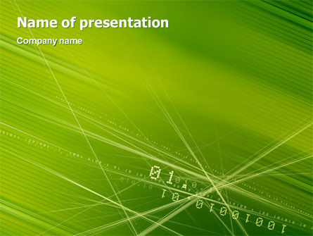 Telecommunication: Binary Green PowerPoint Template #02070