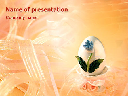 Religious/Spiritual: Easter Egg With Blue Flower PowerPoint Template #02080