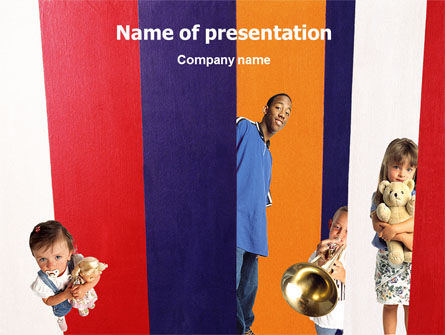 Kids In Colored Stripes PowerPoint Template, 02119, Education & Training — PoweredTemplate.com