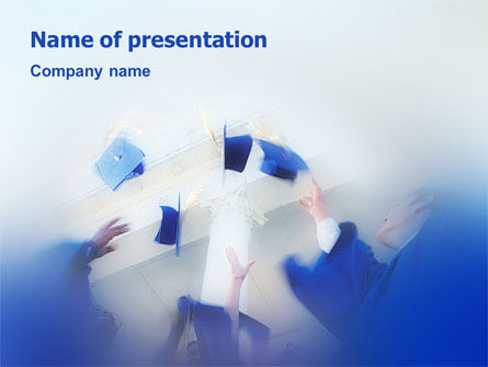 Graduation In Blue Colors PowerPoint Template, 02145, Education & Training — PoweredTemplate.com