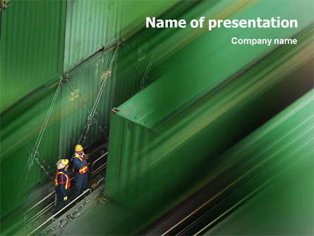 Container Shipping PowerPoint Template, 02156, Cars and Transportation — PoweredTemplate.com