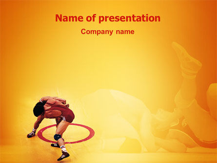 Sports: Free-Style Wrestling PowerPoint Template #02159