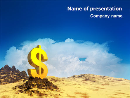 Dollar In Desert PowerPoint Template, 02172, Financial/Accounting — PoweredTemplate.com