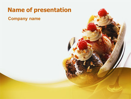Banana Split PowerPoint Template, 02192, Food & Beverage — PoweredTemplate.com