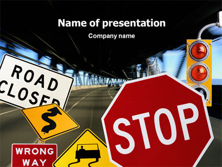 Education & Training: Road Sign PowerPoint Template #02198